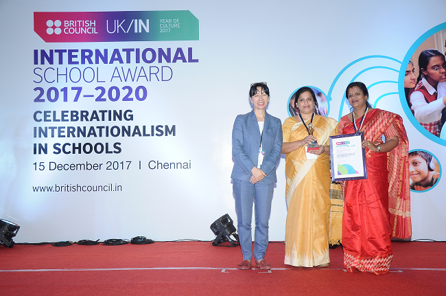 Ruby Antony, Vice Principal and Anupama PM, teacher of Rajagiri Public School receive the British Council ISA on behalf  of the school in Chennai in 2017
