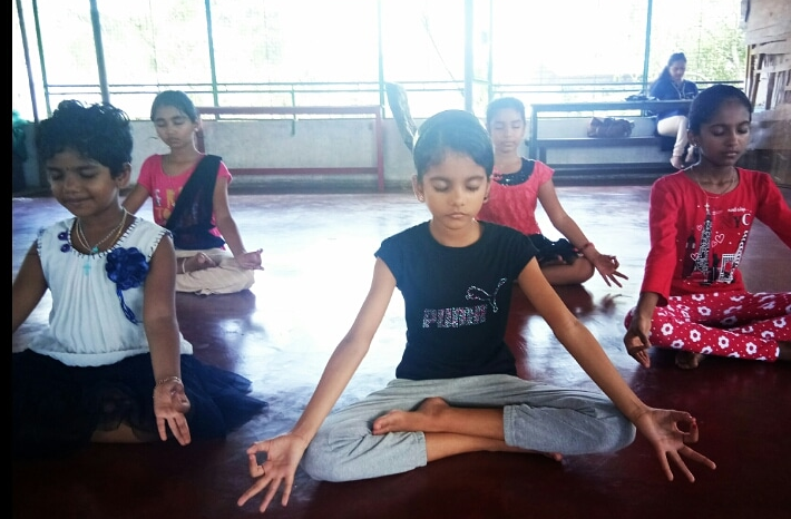 Children Learning Yoga at Namasthe Yoga run by renowned Yoga Master Mehabooba Ramzan in Kochi