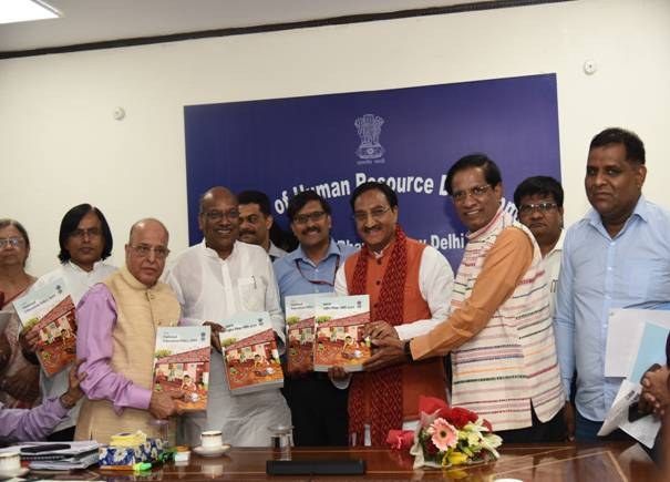Dr Kasturirangan and committee members releasing the Draft New Education Policy