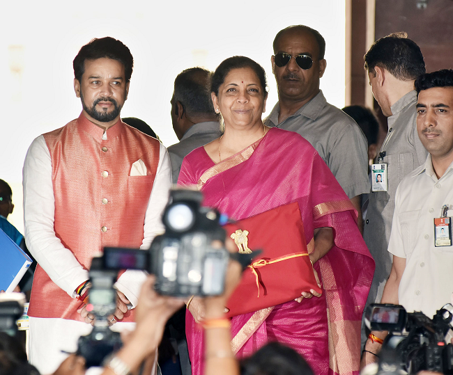 Nirmala Seetharaman, Finance Minister with Anurag Singh Thakur, Minister of State for Finance