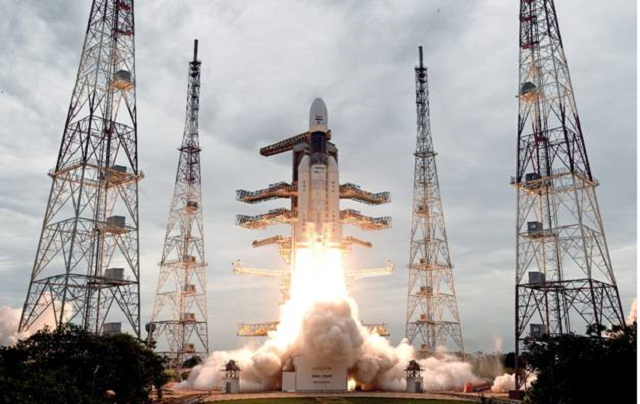 The Geosynchronous Satellite Launch Vehicle, GSLV MkIII-M1 rocket, carrying Chandrayaan-2 spacecraft, lifting off from the Second Launch Pad at the Satish Dhawan Space Centre, Sriharikota in Andhra Pradesh on Monday, July 22, 2019.