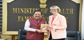 Photo oThe German Federal Minister for Education & Research, Ms. AnjaKarliczek and Dr Harsh Patwardhan, Union Minister of Science and Technology by PIBf