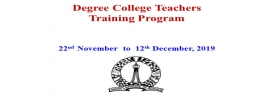 Degree College Teachers Training Programme from 22nd Nov to 12th Dec 2019
